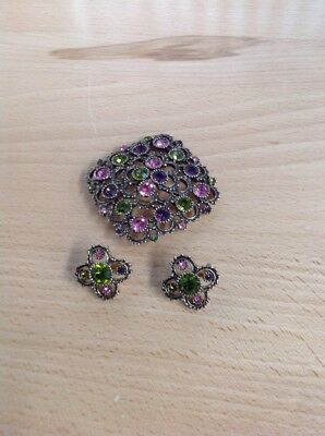 Vintage SARAH COVENTRY Austrian Lights Brooch, Earring DEMI-PARURE Set
