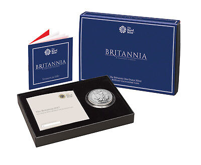 1 Oz Silber BU Britannia packaged in box 2 £ Pfund UK 2017 ounce silver