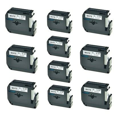 """10PK M-K221 MK221 Black On White Label Tape For Brother P-touch PT-55S 3/8"""""""