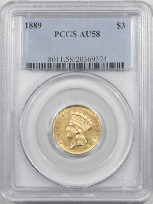 1889 $3 Gold Pcgs Au-58 Premium Quality! Tough