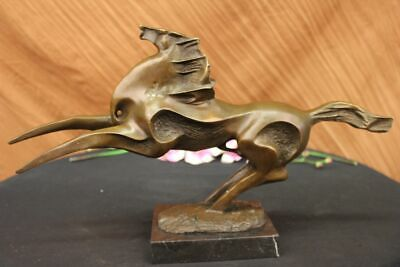 Abstract Bronze Horse on Black Marble by Milo Mid-century Modern Classic Artwork