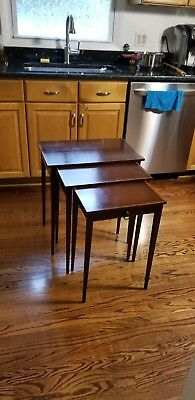 Vintage Nesting Table 3 Pieces 1 Draw Mahogany Veneer And Wood