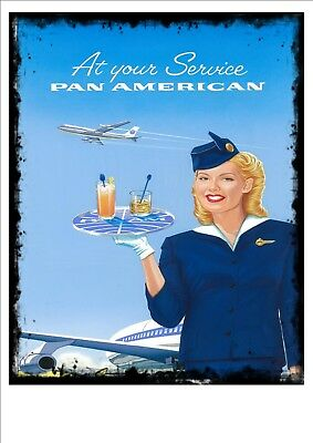 Pan American  Airlines Vintage Antique Style Advertising Sign Travel Sign Pam Am