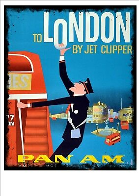 Pan American  Airlines Vintage Antique Style London Sign Travel Sign Pam Am