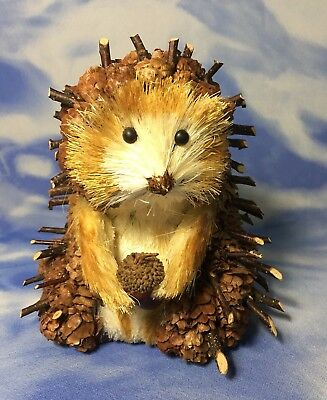 "HTF Adorable 6"" Natural Pinecones & Wood Sticks Buri Hedgehog Figurine w/ Acorn"