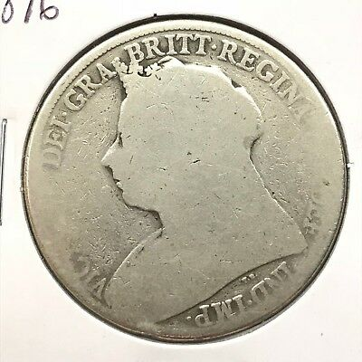 1896 Great Britain UK Queen Victoria Sterling Silver Crown: Widow Head