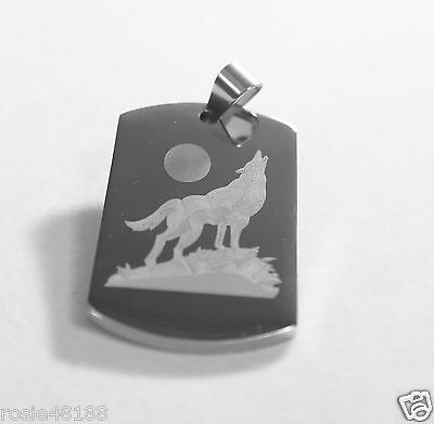 Wolf Howling At The Moon Solid Stainless Steel Dog Tag Necklace Pendant