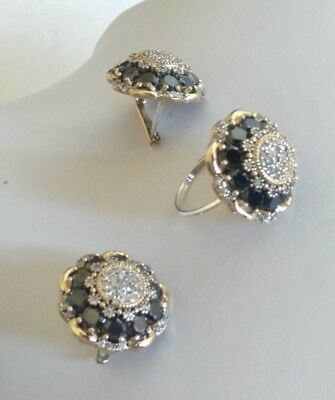AAA Quality 925 Sterling Silver Jewelry Black Spinel & Cz Flowers Set