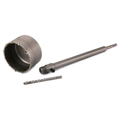 100mm Wall Hole Saw Drill Bit 350mm Connect Rod Round Shank Kit Cement Bricks