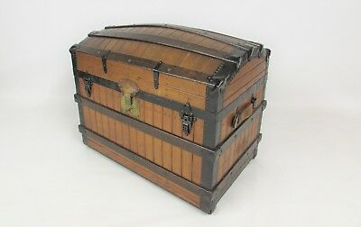 Antique Excelsior Luggage ( Circa 1868 ) Dome Top  Steamer Pirates Chest Trunk