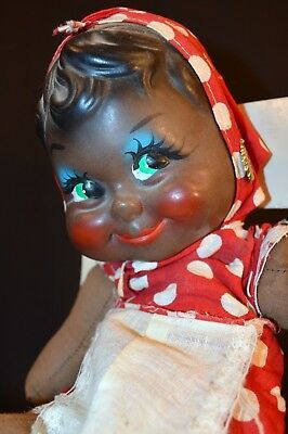 "Rare 1930S, Old 17"" Black Flirty Eye Doll, Rubber Face & Cloth Body"