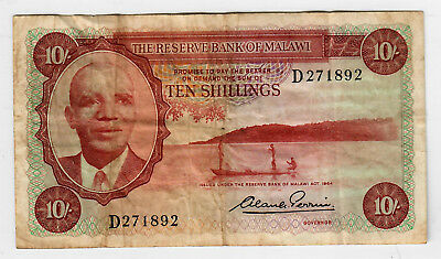 Malawi 10 Shillings Reserve act of 1964 VG/F