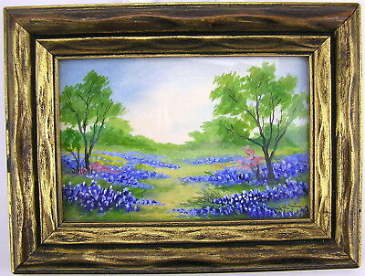 1940 Framed Signed Virginia E. Lange Watercolor Painting TEXAS BLUEBONNETS