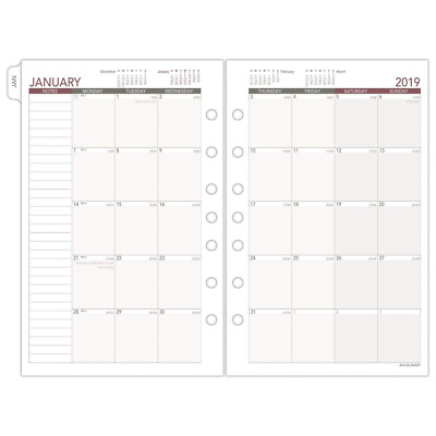 AT-A-GLANCE Day Runner Monthly Planner Refill, January 2019 - December 2019,