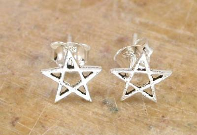 WICCA STERLING SILVER PENTACLE STUD EARRINGS style# st70