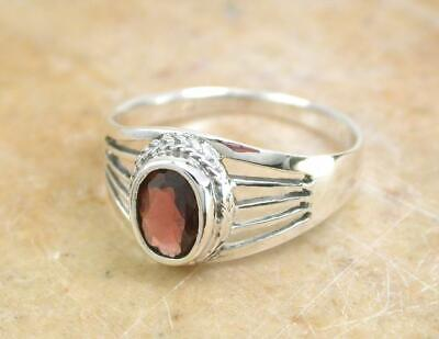 BEAUTIFUL STERLING SILVER FACETED REAL GARNET RING size 8 style# r1117