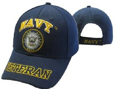 US Navy Veteran Emblem Letters On Bill Crest Shadow Blue Embroidered Cap Hat