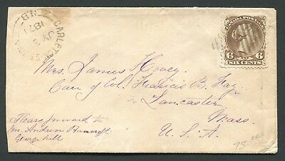 """Canada #27 Large Queen New Brunswick Split Ring Town Cancel Cover """"Carleton"""""""
