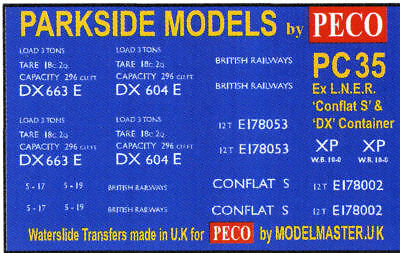 Modelmaster Transfers PECO PARKSIDE 4mm Kit PC37 /'Python/' Covered Carriage Truck