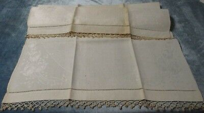 Antique Linen Damask Towel Tulip Pattern Tatted Trim Hemstitched FREE SHIPPING