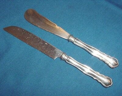 Silver 830 Sweden Hallmarks Oval 3 Crowns S Set Pair Knives Flatware