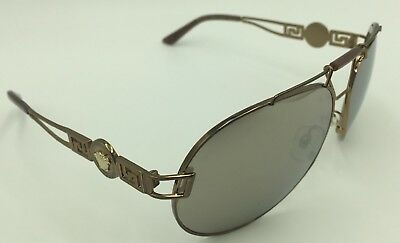57c49fb134 VERSACE MOD.2160 1348 5A Sunglasses - Gold   Brown w Gold Mirrored ...