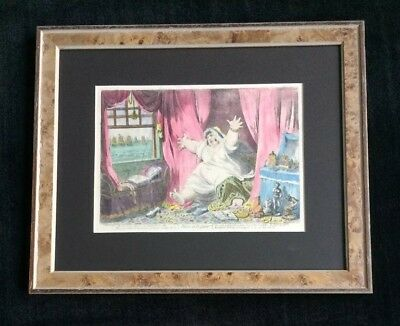 """James Gillray hand colored etching """"Dido, in Despair!"""""""