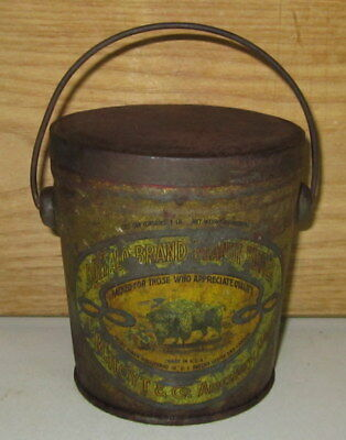 Antique Buffalo Brand 1 Lb Peanut Butter Tin Can With Bail Handle