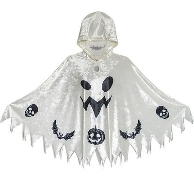 Halloween Witch Cape Velvet Hooded Cloak Costumes Wizard Cosplay Age 4-12 Years