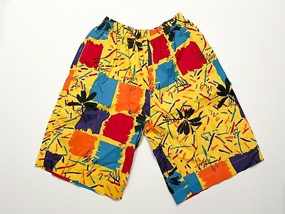 Vintage 90s Forenza Surf Cotton Board Shorts Swim Trunks Colorful Abstract M