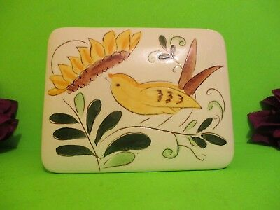 Stangl Pottery Cigarette Box Canary & Sunflower