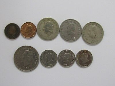 Lot of 9 Different Old El Salvador Coins - 1940s to 1977 - Circulated