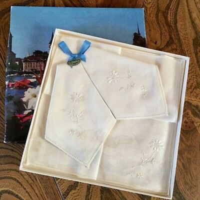 Vintage1960s - 3 Embroidered St Patrick Irish Linen Hankies Boxed UNUSED