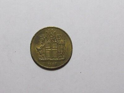 Old Iceland Coin - 1966 1 Krona - Circulated, scratch, discolored, rim dings