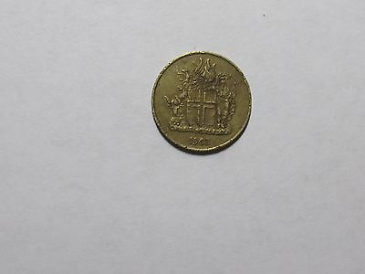Old Iceland Coin - 1963 1 Krona - Circulated, scratches, rim dings
