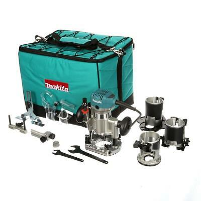 Makita 6.5 Amp 1-1/4 HP Corded Variable Speed Compact Router 3 Bases Plunge Tilt