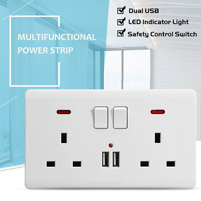 Double Wall Plug Power Socket 2 Gang + 2 USB Charger Ports UK Plugs + 2 Switch