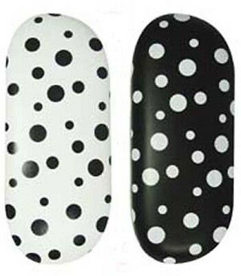 Polka Dot Spectacle / Glasses Case Black & White Metal Bodied Hard Case specs