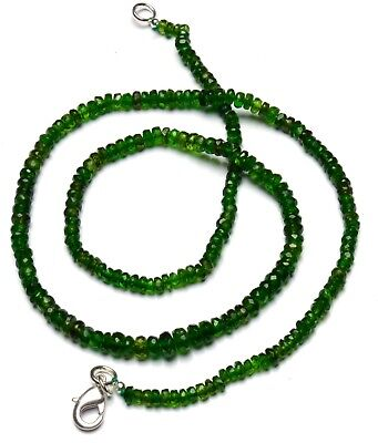 """Super Fine Quality Chrome Diopside Faceted 3 to 5MM Rondelle Beads Necklace 18"""""""