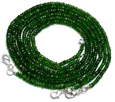 """Super Fine Quality Chrome Diopside Faceted 3 to 6MM Rondelle Beads Necklace 18"""""""