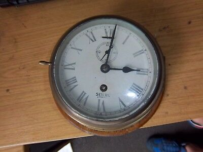 Sewill Liverpool Large Brass Ships Clock Nautical Navy WW1 WW2 Fully working