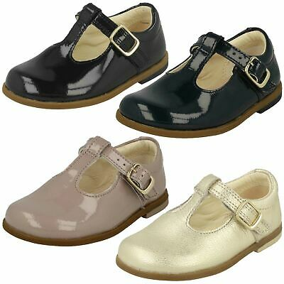 Infant Girls Clarks Patent Leather T-Bar Buckle Fastening Shoes - 'Drew Shine'