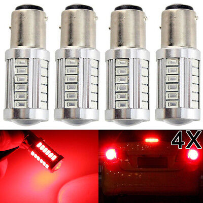 4X Bay15D 1157 P21/2.5W Red 5630 33 Led Brake Stop Tail Light Canbus Bulb Globe