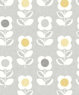 Feature Flower Motif. Arthouse Retro House Floral Grey Yellow Wallpaper 901907