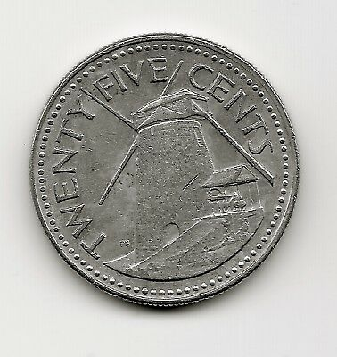 World Coins - Barbados 25 Cents 1973 Coin KM# 13 ; Windmill
