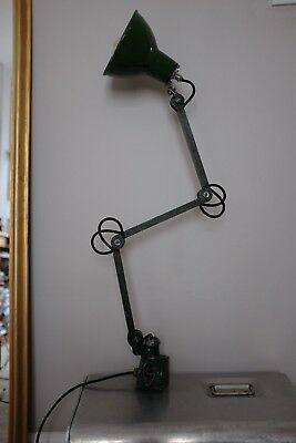 Vintage industrial machinists EDL chic workshop lamp, 3 arm articulated light