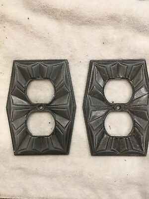 Art Deco Vintage Metal Double Outlet Plate Cover Set of 2