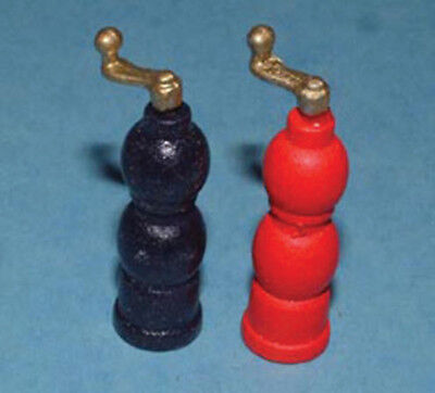 Dolls House Miniature 1/12th Scale Black and Red Wooden Salt and Pepper Mills