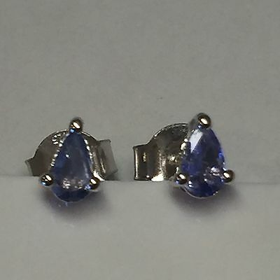 Natural 1ct Tanzanite 925 Solid Sterling Silver Pear Stud Earrings 4mm