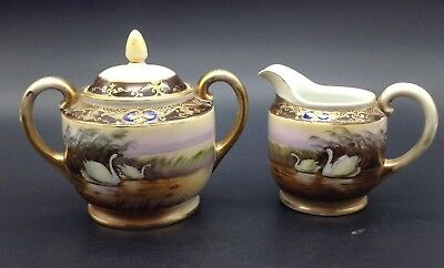 Noritake Nippon Japan Hand Painted Swans Birds Sugar Creamer Gold